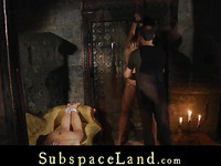 Four slaves led in leash to dungeon exploit