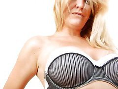 Tall breasty blond Anilos cougar pounds her cookie with a sextoy