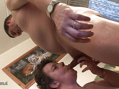 This large lady gets her mouth stuffed with jock