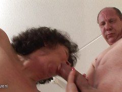 This horny mama can't live without to get fucked by two guys