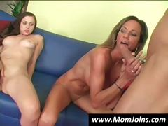 Mom shows daughter how to suck a cock the right way and gets pussy licked