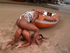 Brazilian Slut Gets Anal Sex Outdoors In The Beach By a Big Black Cock