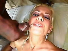 Big black cock stretches wet shaved pussy on bed