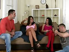 Awesome FFMM Foursome With Two Hot Brunettes