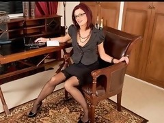 Hawt secretary wearing glasses plays with her fuzzy snatch