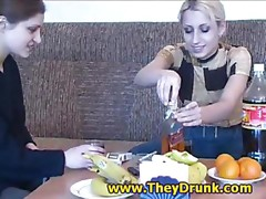 Drunk lesbian babes and banana