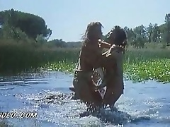Stunnning Isabel Libossart and Pilar Orive Wrestling Naked In a Lake