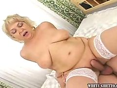 Hot grandma with big tits gets a good fuck & a creampie!