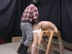 Lewd pig daddy torturing horny gay slave before fucking tight ass